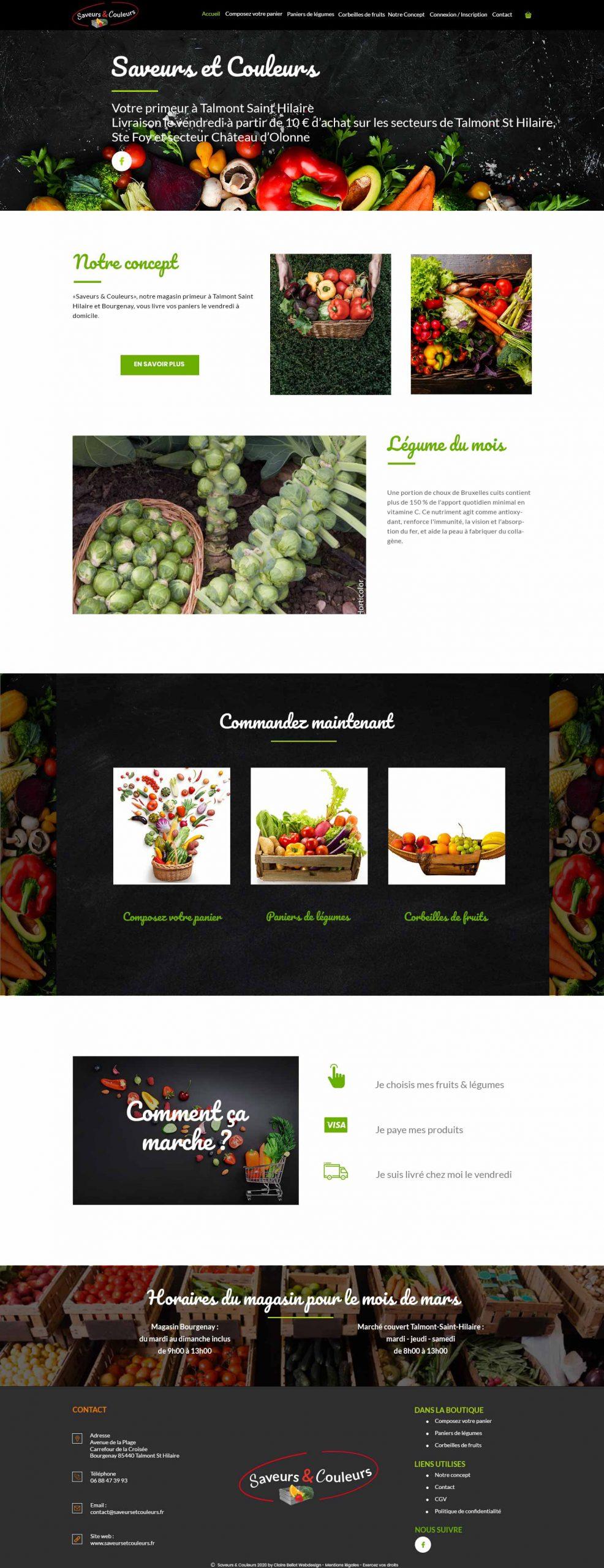 Saveurs et Couleurs page accueil création site e-commerce
