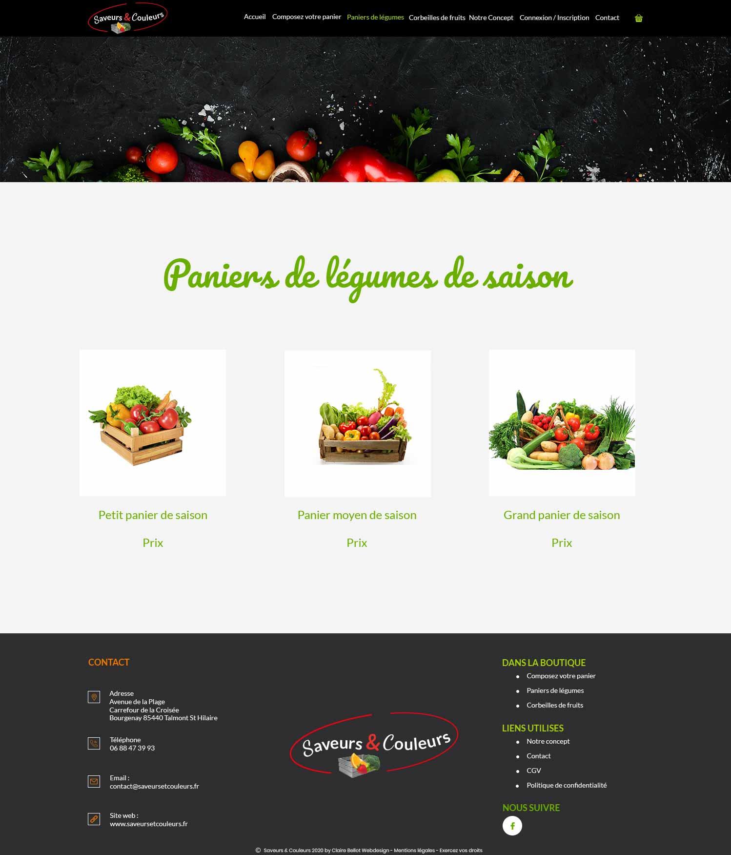 Saveurs et Couleurs page paniers de légumes création site e-commerce