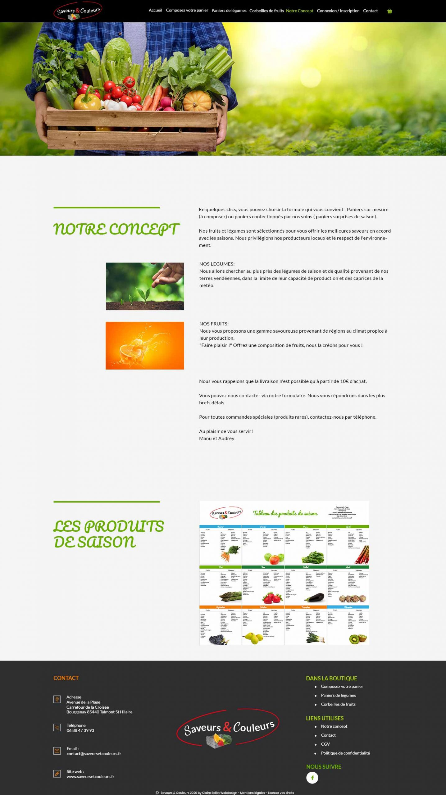 Saveurs et Couleurs page concept création site e-commerce