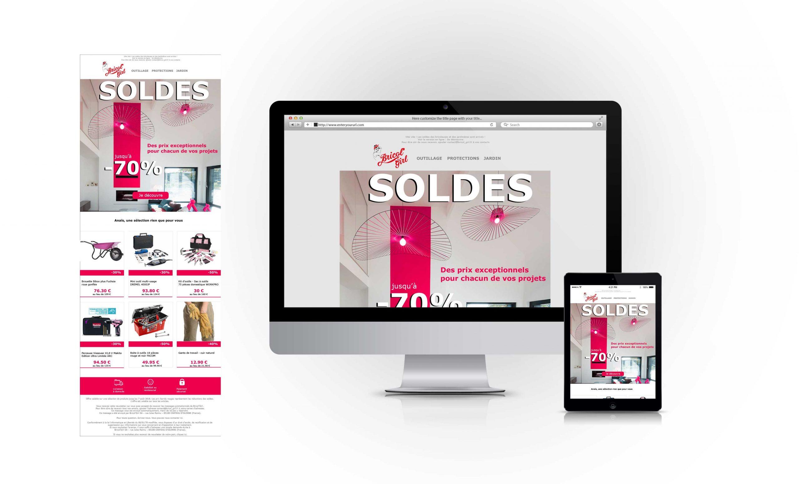 Newsletter Bricol'Girl site e-commerce