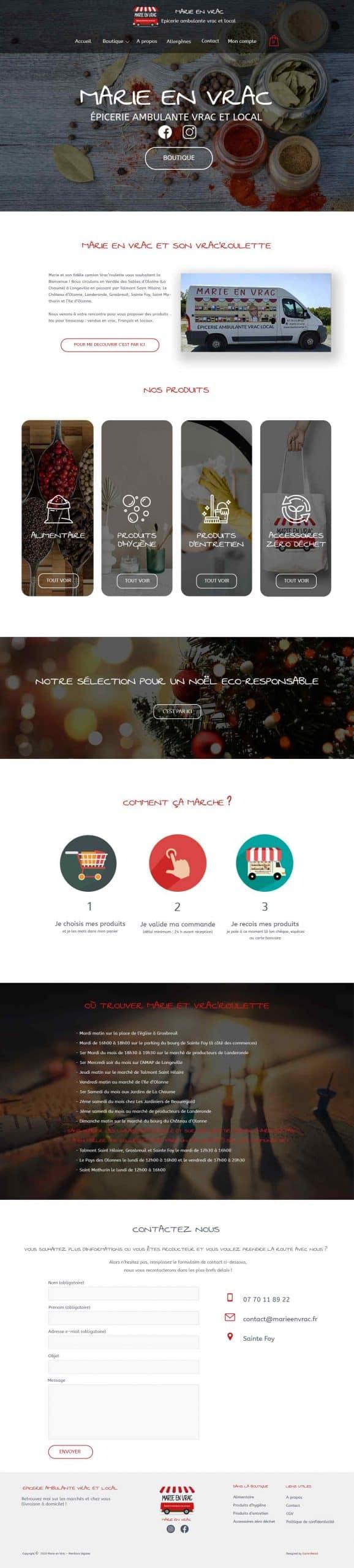 Page accueil site e-commerce Marie en Vrac